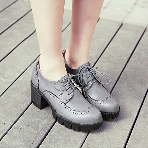 Charm Foot Womens In Chunky Lace Up Con Plateau Oxford Scarpe Grigie