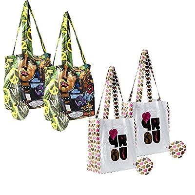 Earthwise Tyvek® Reusable Hearts & Graffiti Print Shopping Tote Bags (4 Pack)