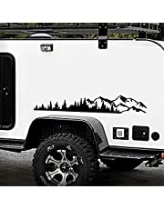 Car Snow Mountain Sticker,D-1231 Mountain Decals Tree Forest DIY Vinyl Graphic for Camper Rv Trailer Car Side Body-Stickers Universal Long Size Stickers Accessories for All Car