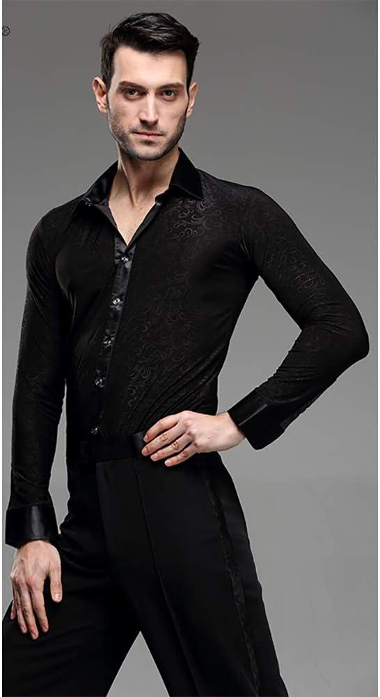 KUHU Trajes de Baile para Hombre Baile Latino Tops Camisas Manga Larga Ropa de Baile Adultos Negro Y1027 / L: Amazon.es: Deportes y aire libre