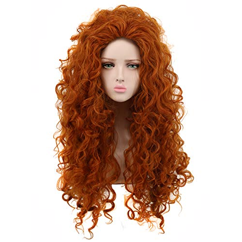 Yuehong Long Curly Orange Wig Heat Resistant Cosplay Wigs Halloween Cos Wig -