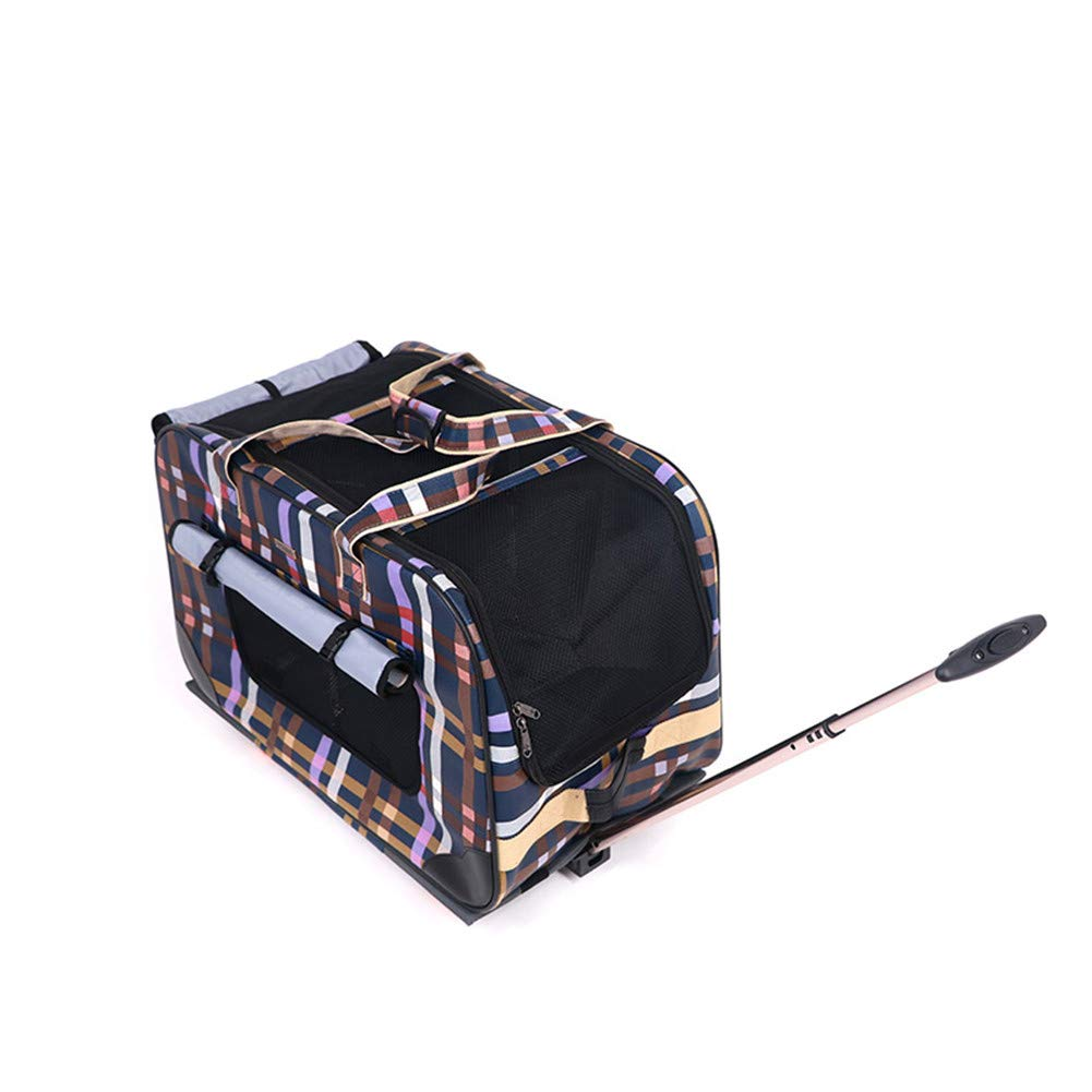 Portable Pet Trolley Case Travel Airline Breathable Convenient durable for Dogs Cats with Integrated Trolley and Telescopic Handle(35  46  62cm)