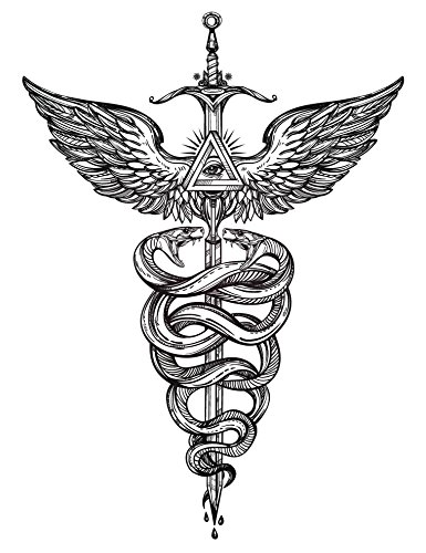 Caduceus Sticker - Caduceus Medical Symbol with Snakes and Wings Vinyl Decal Sticker (4