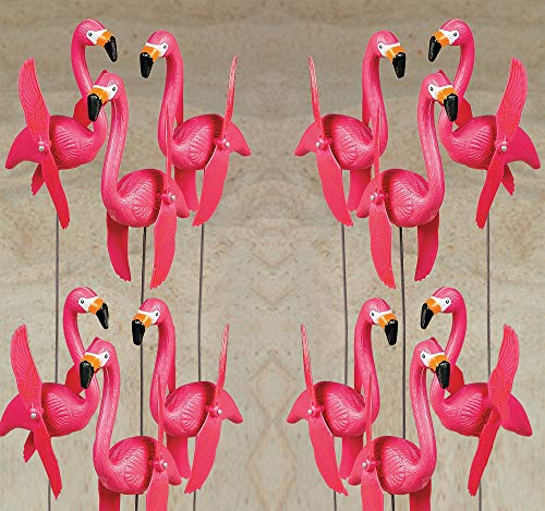 (4E's Novelty Bulk Set of 12 Pink Twirling Flamingo Yard Signs/Whirly-gig Twirling Wings Lawn Ornaments/with 20-inch Stakes, for Yard Decorations)