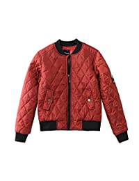 Hiheart Boys Bomber Jacket with Patches Baseball Jacket Quilted Jacket