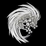 Addison Antique Rhodium Crystal & Ivory Feather Fascinator Wedding Bridal Tiara Comb