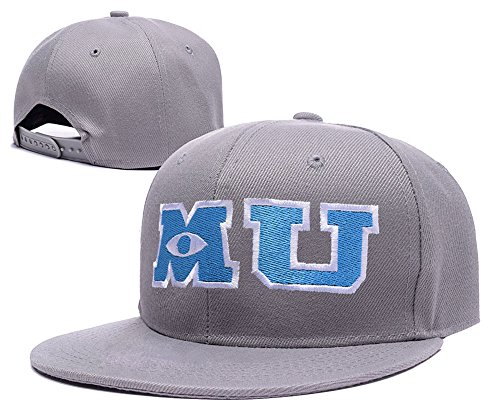 [RHXING M U Monsters University Logo Adjustable Snapback Embroidery Hats Caps - Grey] (Monsters University Hat)