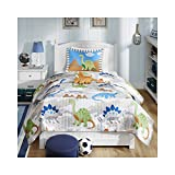 Mi-Zone Kids Little Foot Twin Bedding Sets Boys Quilt Set - Grey, Blue, Orange, Dinosaur – 3 Piece Kids Quilt for Boys – Cotton Filling Ultra Soft Microfiber Quilt Sets Coverlet