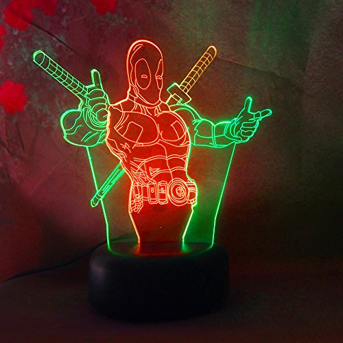 Amroe Double Mix Colors Marvel Deadpool - 3D LED Night Light -7 Colors Change(Touch Control) - Led 7 Colors Lamp Kids Night Light Toys Birthday Gifts Party Decoration Light Table Desk Lamp from Amroe