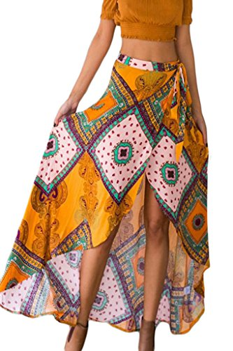 HOTAPEI Womens Summer Boho Dream Tie Waist Tribal Print Asymmetrical Maxi Skirt (Wrap Skirt)