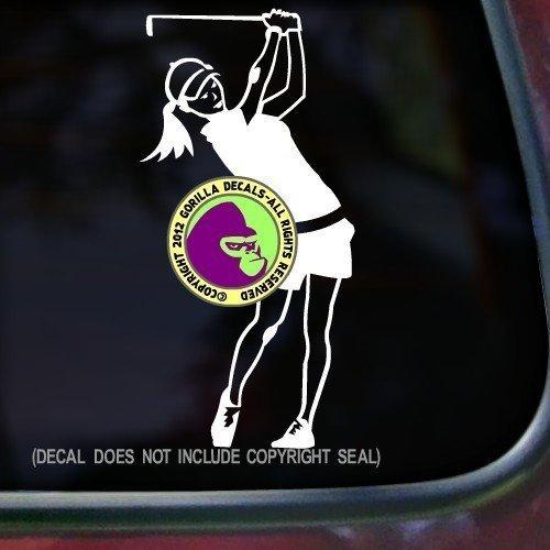 GOLFER FEMALE Vinyl Decal Sticker C
