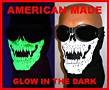 American Made Glow in the Dark Skull Vampire Fangs Face Ski Mask With VELCRObrand Adjustable Closure Reversible Motorcycle Rider Dust, Wind Neck Cover For Youth / Adult 17-25 Inch Head Circumference