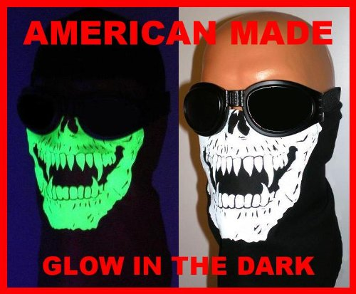 VELCROBrand Adjustable Close Reversible Glow in the Dark Skull Face Mask Motorcycle Biker Bandana