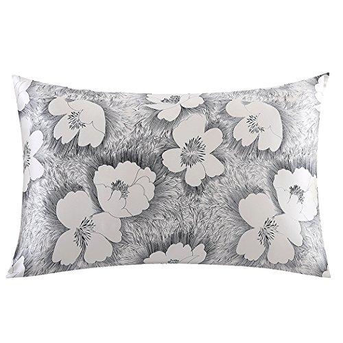 ZIMASILK 100% Pure Silk Pillowcase for Hair and Skin Health, Floral Print,1pc (Queen 20x30, pattern10)