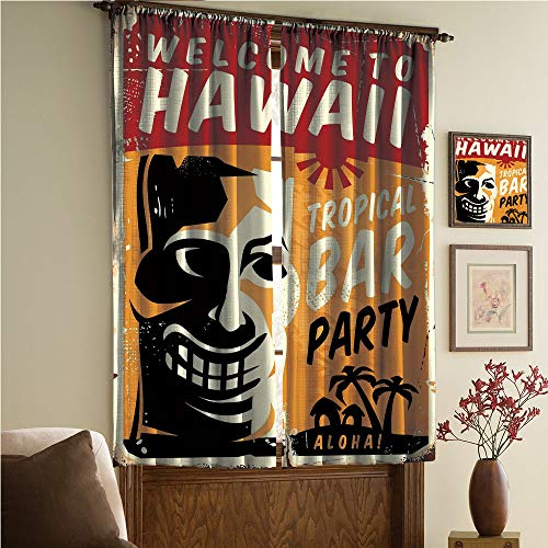 (whitepurplecassie curtain iPrint Stylish Window Curtains,Multicolor,2 Panel Set Window Drapes,Tropical Bar Party Retro Style Grunge Signboard 84Wx63L Inch)