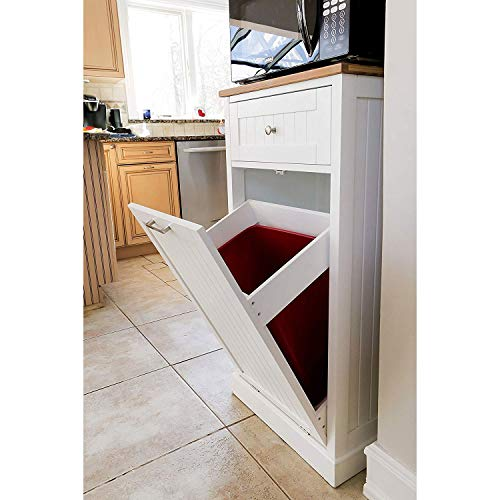 SpaceMaster SM-CMC-800 Freestanding Microwave Kitchen Cart with Trash Can Holder and Bamboo Cutting Board White by SpaceMaster (Image #4)