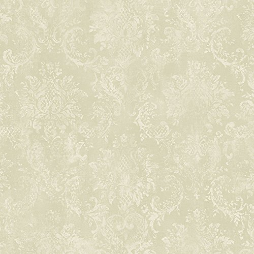Norwall SD36104 Canvas Damask Prepasted Wallpaper Green, Cream