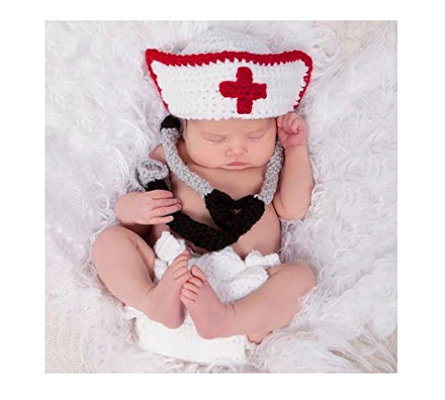 MATISSA Newborn Baby Girl/Boy Crochet Knit Costume Photography Prop Hats and Outfits (Doctor/Nurse)