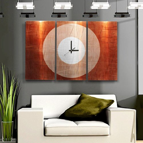 Contemporary Wall Clock with Orange, Silver & Copper