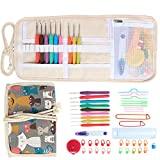 Damero Ergonomic Crochet Hooks Set, Travel Canvas Roll Organizer with 9pcs 2mm to 6mm Soft Grip Crochet Hooks and Complete Knitting Accessories, All in One, Easy to Carry, Elegant Cats