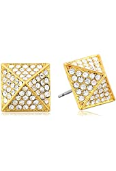 Vince Camuto Gold and Crystal Pave Stud Earrings