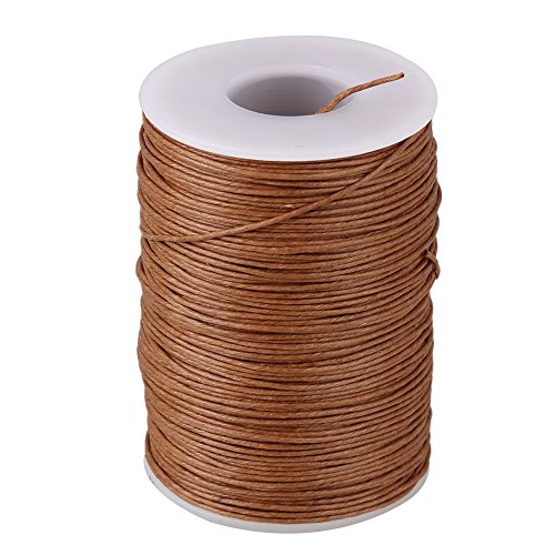 0.7mm 100M Ramie Round Natural Hemp Waxed Thread Leather Craft Sewing Cord For DIY Tool Handwork Stitching Light Brown