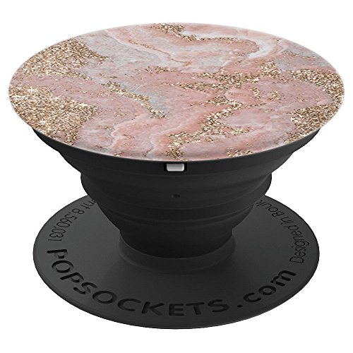 Pink and White Marble Pattern - PopSockets Grip and Stand for Phones and Tablets ()