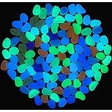 Amgate 100 Pcs Colorful Glow in the Dark Luminous Pebbles for Walkway | Yard & Fish Tank decorative stones