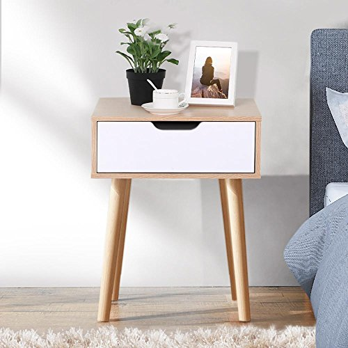 Yaheetech Mid Century End Side Table Nightstand Accent Table with Storage Drawer for Living Room Bedroom (Bedside Table Wood)