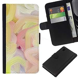 iBinBang / Flip Funda de Cuero Case Cover - Líneas de colores de pintura al óleo del arte de la primavera - Sony Xperia Z1 L39H