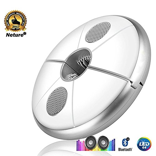 Neture Patio Umbrella Bluetooth Speaker, Wireless 64 LED with Rechargeable Built-In 4000mAh Lithium Battery Power Bank, USB Potable Parasol Lights with Pure White Light & RGB Color Changing by Neture