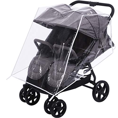 Innokids Stroller Rain Cover for Double Stroller - Baby Stroller Weather Shields - Universal Size to Fit Most Twin Strollers (Side by Side Stroller)