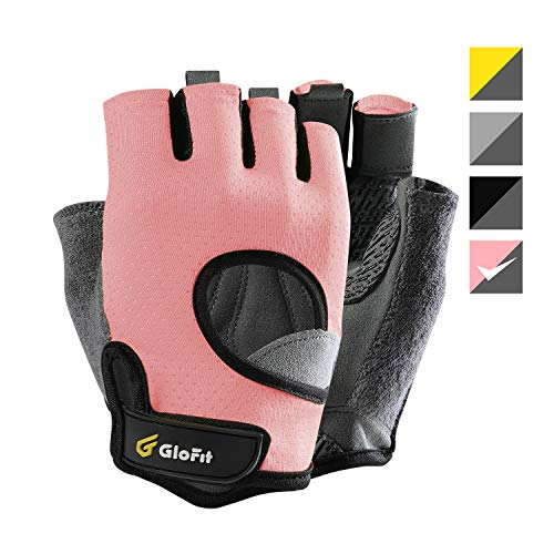 Glofit Freedom Workout Gloves, Knuckle Weight Lifting Shorty Fingerless Gloves with Curved Open Back, for Powerlifting, Gym, Crossfit, Riding, Women (Pink, Medium)