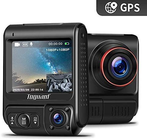 TOGUARD Uber Dual Dash Cam Built-in GPS in Car Driving Recorder 1080P Front and 1080P Cabin Dash Camera IR Night Vision 2 330 Car Camera with Parking Monitor, WDR, Motion Detection for Car Taxi