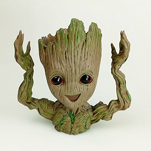 happy_eshop Kawaii Flowerpot Guardians of The Galaxy Tree Baby Groot Action Figures Cute Model Toy Flower Pot with Hole Pen Pot Best New Year Gifts For Kids