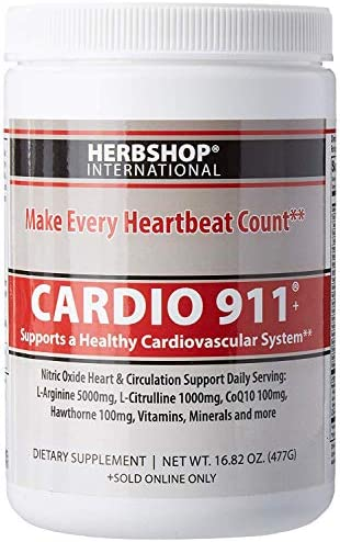 Cardio 911 Heart Health – Nitric Oxide Supplement – 16.82 Ounce Powder with Scoop – Tart Cherry Flavor L-Arginine 5000 mg and L-Citrulline 1000 mg Combo, Pack of 1