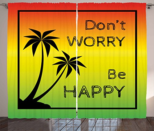 Ambesonne Rasta Curtains, Dont Worry Be Happy Music Words of Iconic Singer Palms Ombre Colors, Living Room Bedroom Window Drapes 2 Panel Set, 108