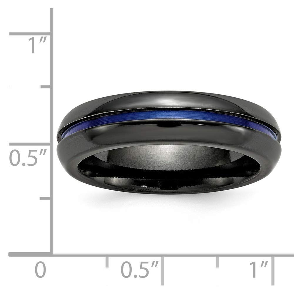 Roy Rose Jewelry Edward Mirell Jewelry Collection Black Titanium Blue-Anodized Center 6mm Band Ring Size 12.5