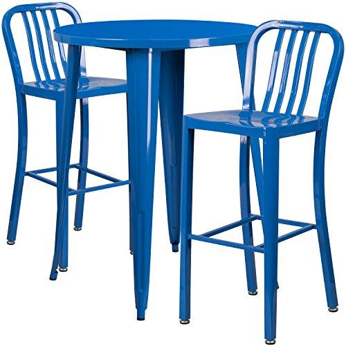 Flash Furniture 30'' Round Blue Metal Indoor-Outdoor Bar Table Set with 2 Vertical Slat Back Stools