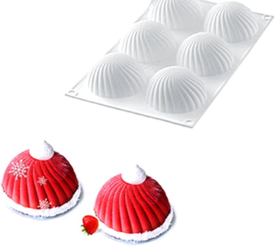 6 Holes Cake Mold Donut Mousse Dessert Moulds Spiral Round Silicone Baking Molds