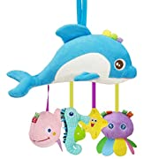 Biubee Baby Stroller Toys - Infant Crinkle Hanging Toys for Crib Bed Bassinet Stroller Rail Toy Sea Animals