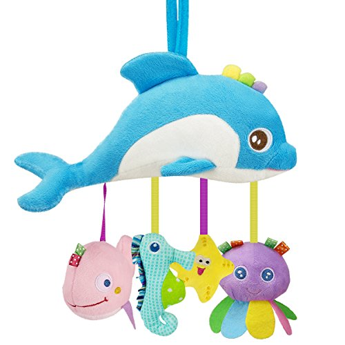 Biubee Baby Stroller Toys - Infant Crinkle Hanging Toys for Crib Bed Bassinet Stroller Rail Toy Sea Animals by Biubee
