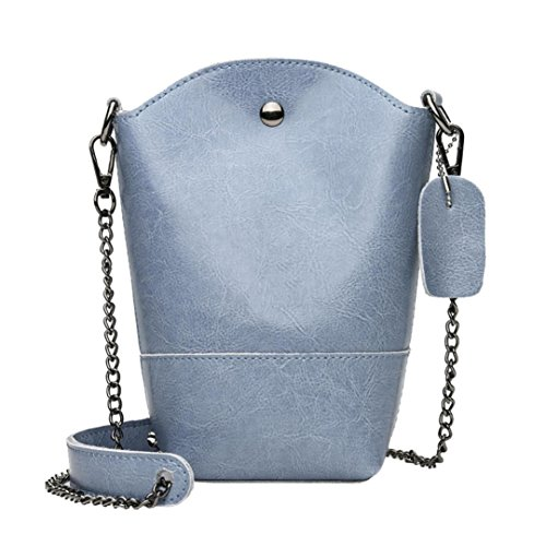 YJYDADA Bag,Vintage Women Pure Color Leather Crossbody Bag Shoulder Bag Phone Bag Bucket Bag Mini Bucket Bag Hasp (Blue) from YJYDADA