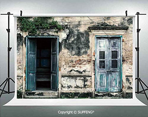 Photography Background Doors of an Old Rock House with French Frame Details in Countryside European Past Theme 3D Backdrops for Photography Backdrop Photo Background Studio Prop]()
