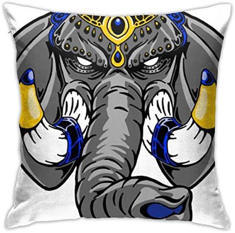 Mighty Elephant Blue おしゃれ 枕 装飾スロー正方形18x18インチ クッション カバー セッ 豪華 装飾 部屋 枕カバー