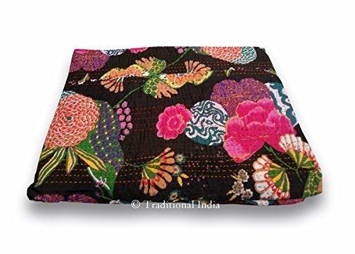 Traditioanl India Kntha Bedspread, Bohemian Bedding Kantha,fruit Print Kantha Quilt , Kantha Blanket, Bed Cover 60x90''
