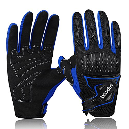 Winter Cycling Gloves ,Castries Full Finger Touch Screen Windproof Warm Hand Riding Gloves ,Anti-Skid Thick Cold Weather Breathable Bike Gloves for Men & Women (Blue, L)