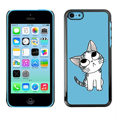Soft Silicone Rubber Case Hard Cover Protective Accessory Compatible with Apple iPhone 5C - Cute Thinking Cat