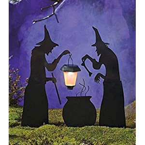 3 Piece Witch Stake Cauldron Pot Solar Lighted Lantern Halloween Silhouette