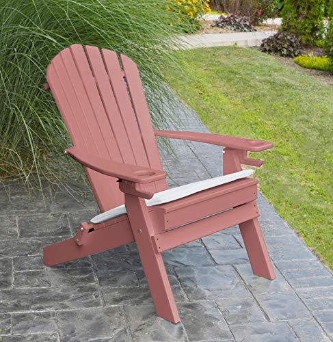 POLYWOOD ADIRONDACK CHAIR FOLDING–2 Two Cup Holders–Foldable Poly Wood Seating Recycled Plastic Chairs–Weatherproof Waterproof No Maintenance Outdoor Seat–Patio Deck And Dock Furniture (Berry)